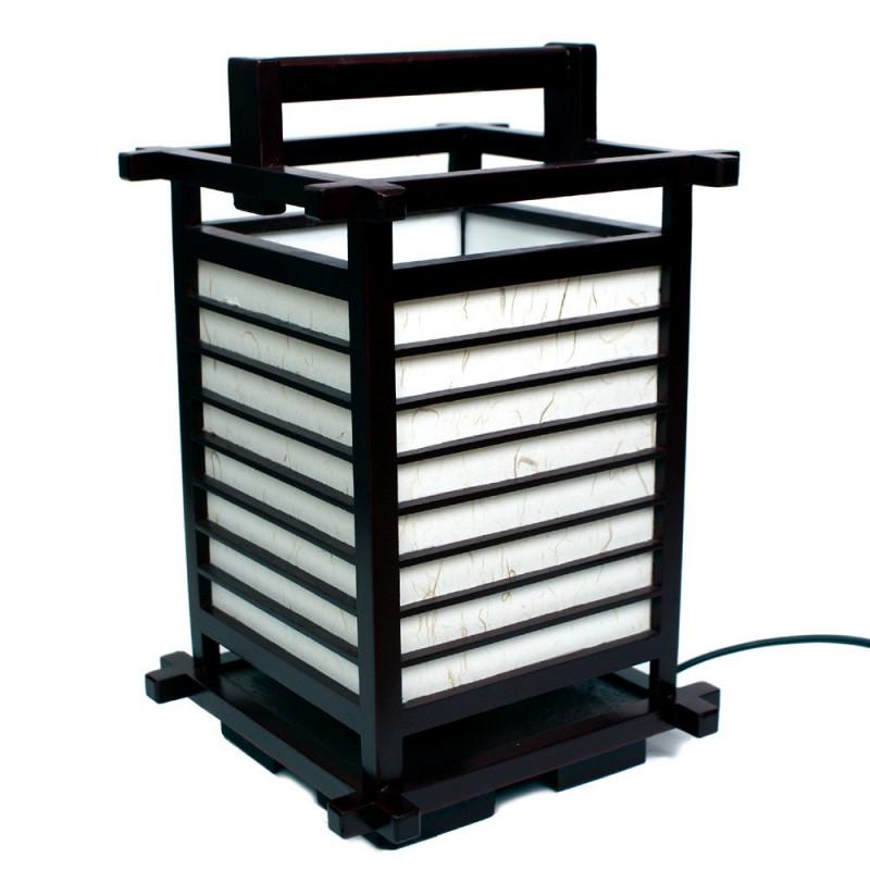 Lampe japonaise noire bois et papier 2034