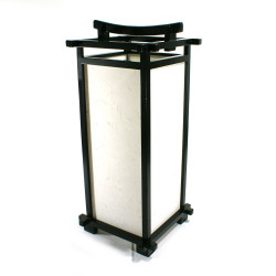japanese lamp black wood and paper L216C