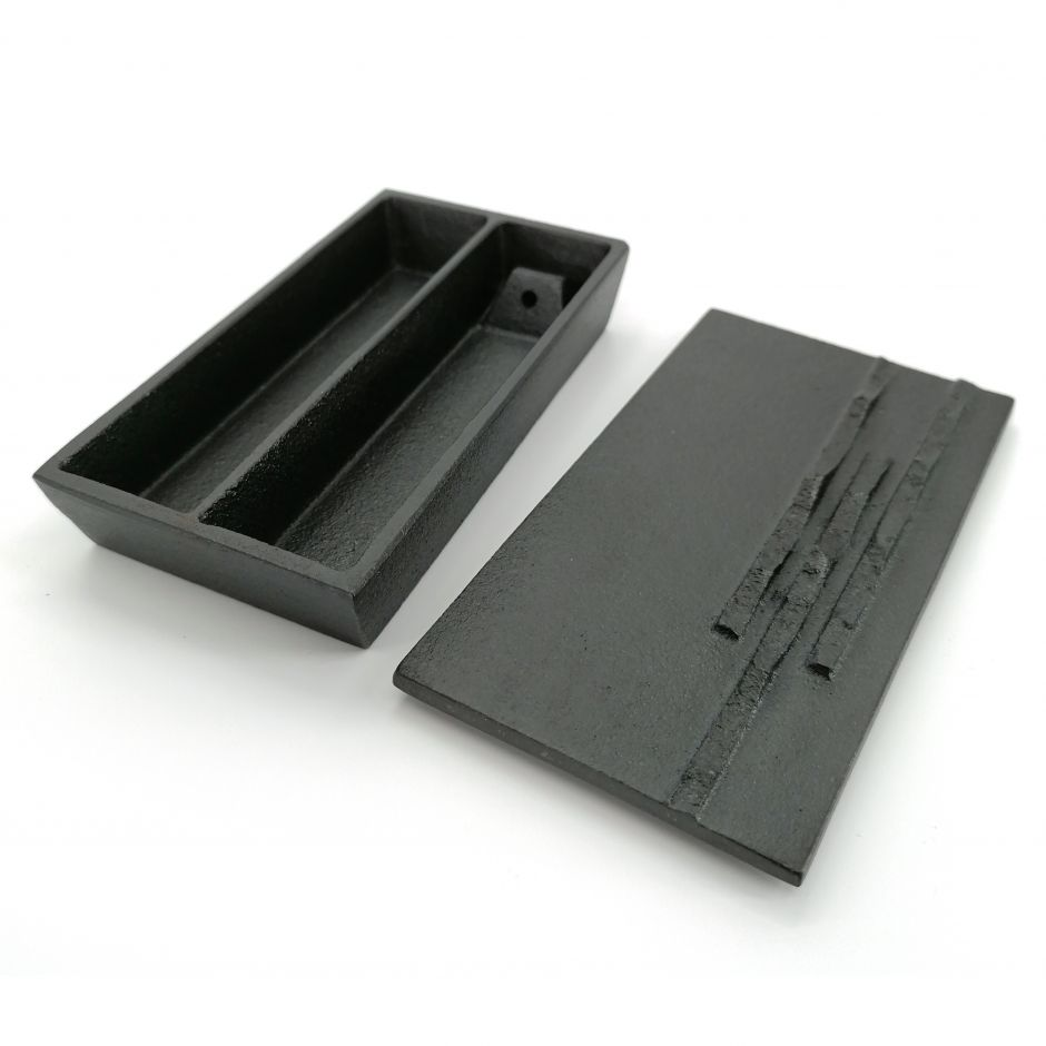 Japanese cast iron double compartment incense holder, HAOCHI cast iron cover, black