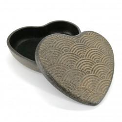 Japanese black cast iron jewelry box, NAMI HATO, heart