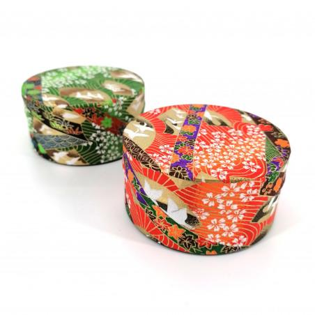 Flat green or red Japanese tea caddy made of washi paper, YUZEN TSURU, 40 g