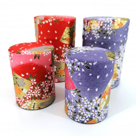 Purple or red Japanese tea box in washi paper, YUZEN MENYU, 40 g or 100 g