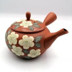 Japanese teapot tokoname kyusu, TAMAKOSAKU AKA SAKURA, red and cherry blossoms