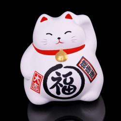 Chat porte-bonheur japonais manekineko blanc, MIYAKO