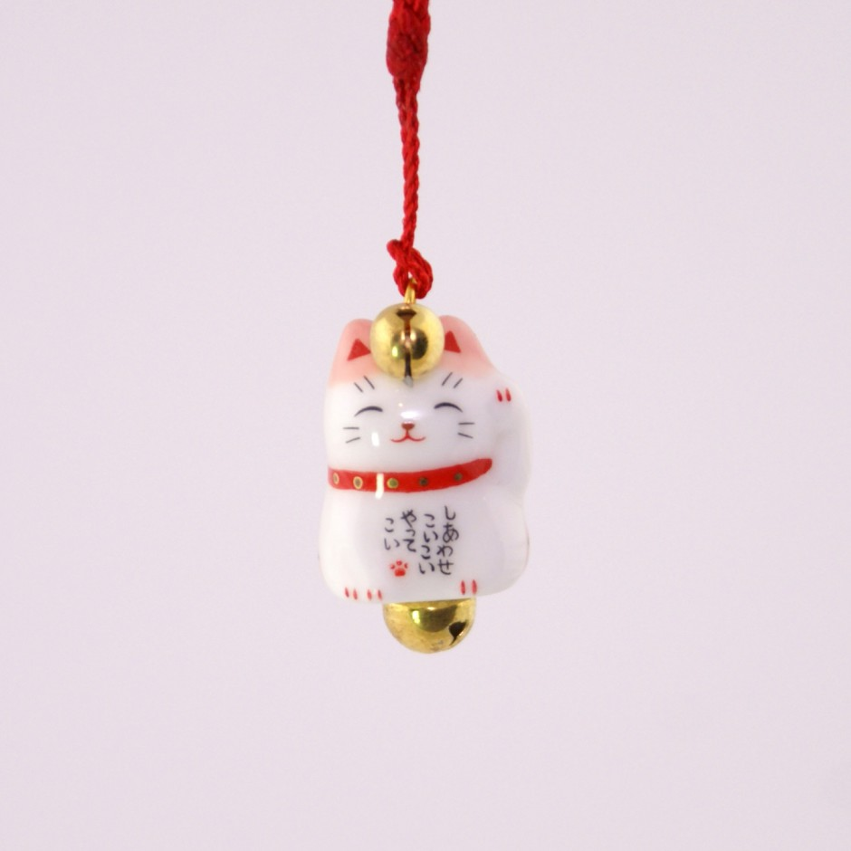 Japanese cat decorative hook for phone, MANEKINEKO, pink