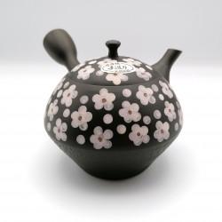 Japanese teapot tokoname kyusu, UME, plum blossoms