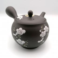 Japanese teapot tokoname kyusu, SHUNJU SAKU KURO, cherry blossoms
