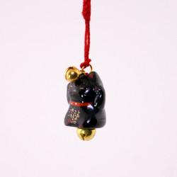 accroche décorative japonaise pour téléphone chat noir 7347