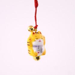 Gancio gatto decorativo giapponese per telefono, MANEKINEKO, giallo