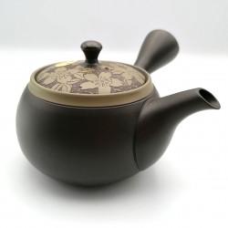 Japanese tokoname kyusu teapot, KOFU SAKU KURO, cherry blossom lid