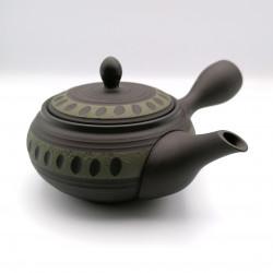 Japanese teapot tokoname kyusu, TAKARA RYUSAKU, black and green lines