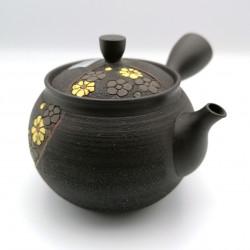 Japanese teapot tokoname kyusu, KIIROI HANA, yellow flowers