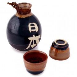 service japonais noir à saké 2 verres et 1 bouteille