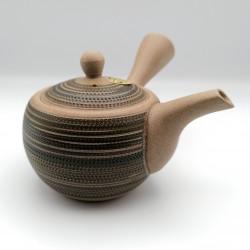 Japanese teapot tokoname kyusu, GYO, beige and black lines