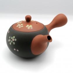 Japanese teapot tokoname kyusu, ORENJI SAKURA, orange and black