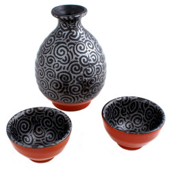 Japanese Sake Set 2 glasses and 1 bottle spirale UZUMAKI