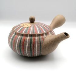 Japanese teapot tokoname kyusu, GYO, multicolored lines