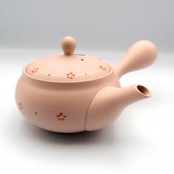 Japanese teapot tokoname kyusu, PINKU, pink and small flowers