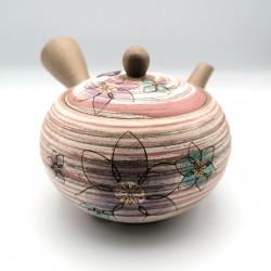 Japanese teapot tokoname kyusu, GYO, pink lines and flowers