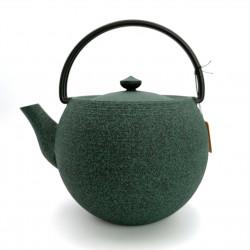 Large round Japanese prestige cast iron teapot, CHÛSHIN KÔBÔ MARUTAMA, green