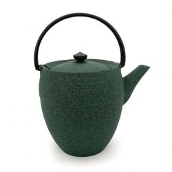 Large Japanese prestige high cast iron teapot, CHÛSHIN KÔBÔ MARUTSUTSU, Green