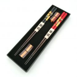 Set of 2 pairs of Japanese chopsticks and 2 wooden chopsticks holder with red and black cherry blossom pattern, SAKURA