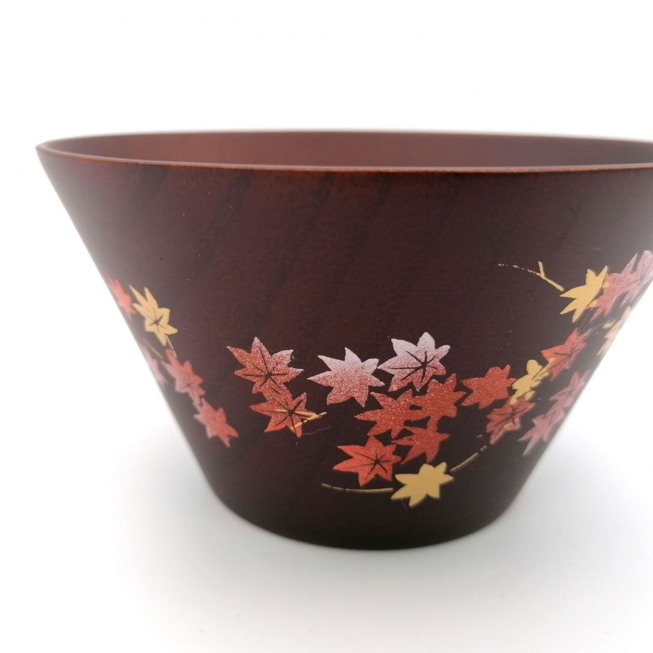 Japanese rice bowl in dark cedar wood with lacquered maple leaves pattern, NATSUME