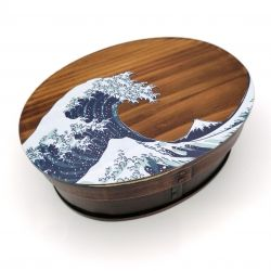 Japanese oval bento lunch box in cedar wood wave pattern, NAMIURA