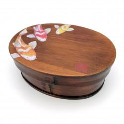 Fiambrera bento japonesa ovalada en madera de cedro con estampado de peces, NISHIKI