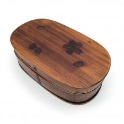 Japanese oval bento lunch box in cedar wood with cherry blossom pattern, MAGEWAPPA SAKURA