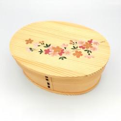 Fiambrera bento japonesa ovalada en madera de cedro con dibujo de flor de cerezo lacado, MAKIE SAKURA