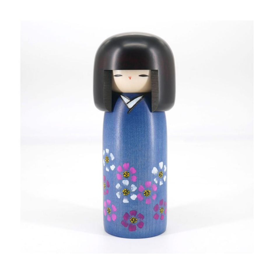 Japanese blue kokeshi doll with cosmos pattern, COSMOS