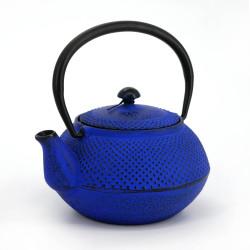 Blue enameled Japanese cast iron teapot, ROJI ARARE, 0.4lt