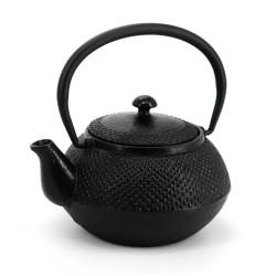 Black enameled Japanese cast iron teapot, ROJI ARARE, 0.4lt