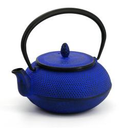 Blue enameled Japanese cast iron teapot, ROJI ARARE, 0.6lt
