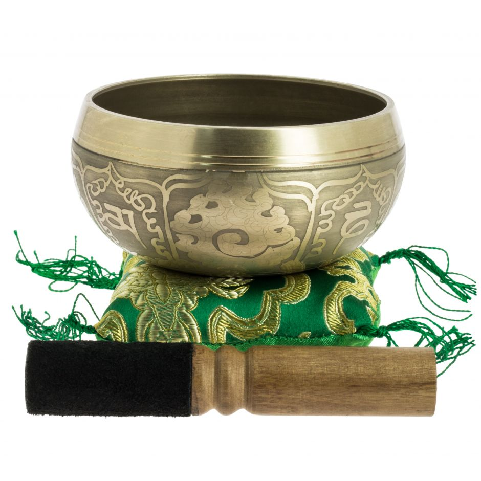 Small Tibetan singing bowl with engravings and its handcrafted storage pouch, 11 cm
