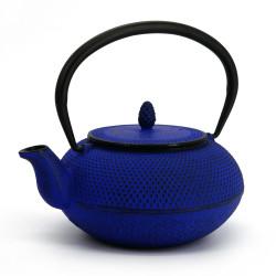 Blue enameled Japanese cast iron teapot, ROJI ARARE, 0.9lt