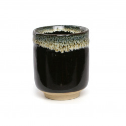 tasse noire japonaise à thé en céramique UNOFU