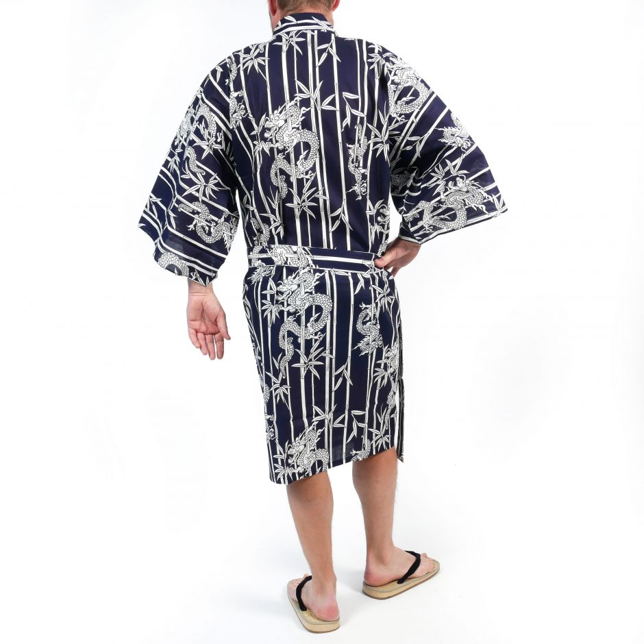 Japanese traditional blue happi kimono in bamboo cotton and dragon for men