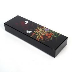 Japanese black resin storage box with flower and butterfly pattern, MIYABINO