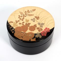 Japanese black and gold jewelry box in resin flower pattern, HANANO