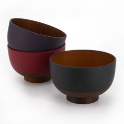 Trio of Japanese bowls, black, red and purple in imitation wood resin, KYOGATA, 10.7cm