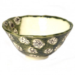 Japanese ceramic rice bowl, ORIBE, green
