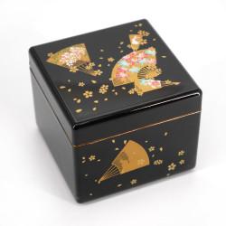 Japanese black resin storage box with fan pattern, SENMENSHUNJU, 6.5x6.5x5cm