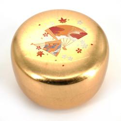 Japanese golden resin storage box with fan pattern, SENMEN, 8.8cm