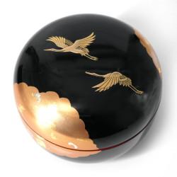 Japanese black resin round storage box with Japanese crane pattern, SHOKAKU, 12cm