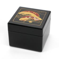 Japanese black resin storage box with fan pattern, SENMEN, 8x8x6.5cm