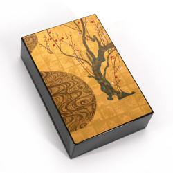Japanese black resin storage box with cherry pattern, KOURINBAI, 11x7.5cm