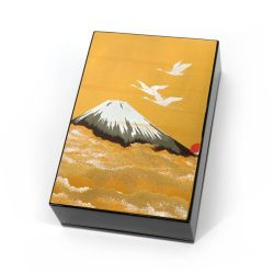 Japanese black resin storage box with cranes and Mount Fuji under the golden sky, SHINSHUDAIIPPO, 11x7.5cm