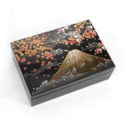 Boîte de rangement japonaise noire en résine motif mont fuji et cerisier, FUJI NI SHUNJU, 16.4x11.4x5.3cm